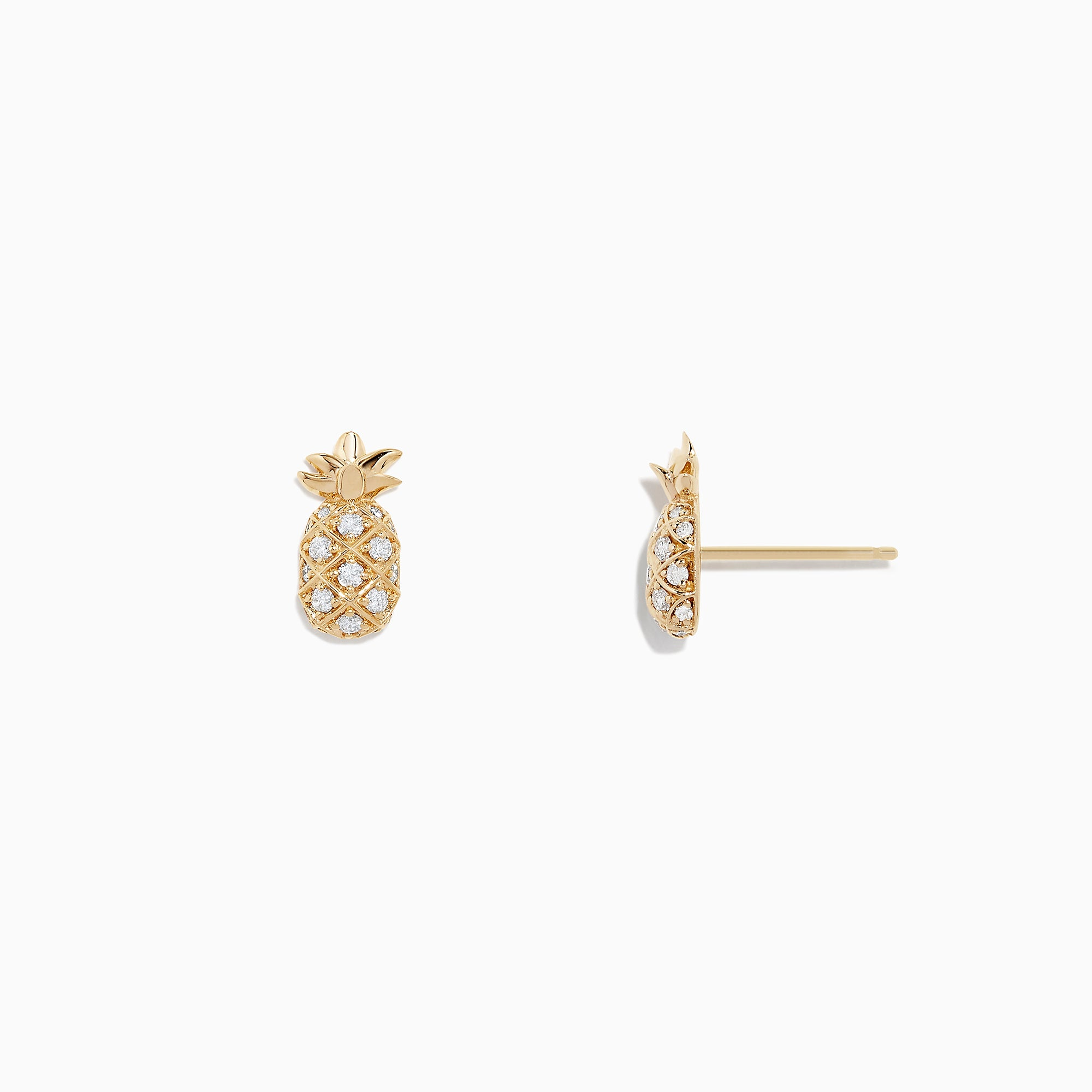 Effy Novelty 14K Yellow Gold Diamond Pineapple Earrings, 0.27 TCW