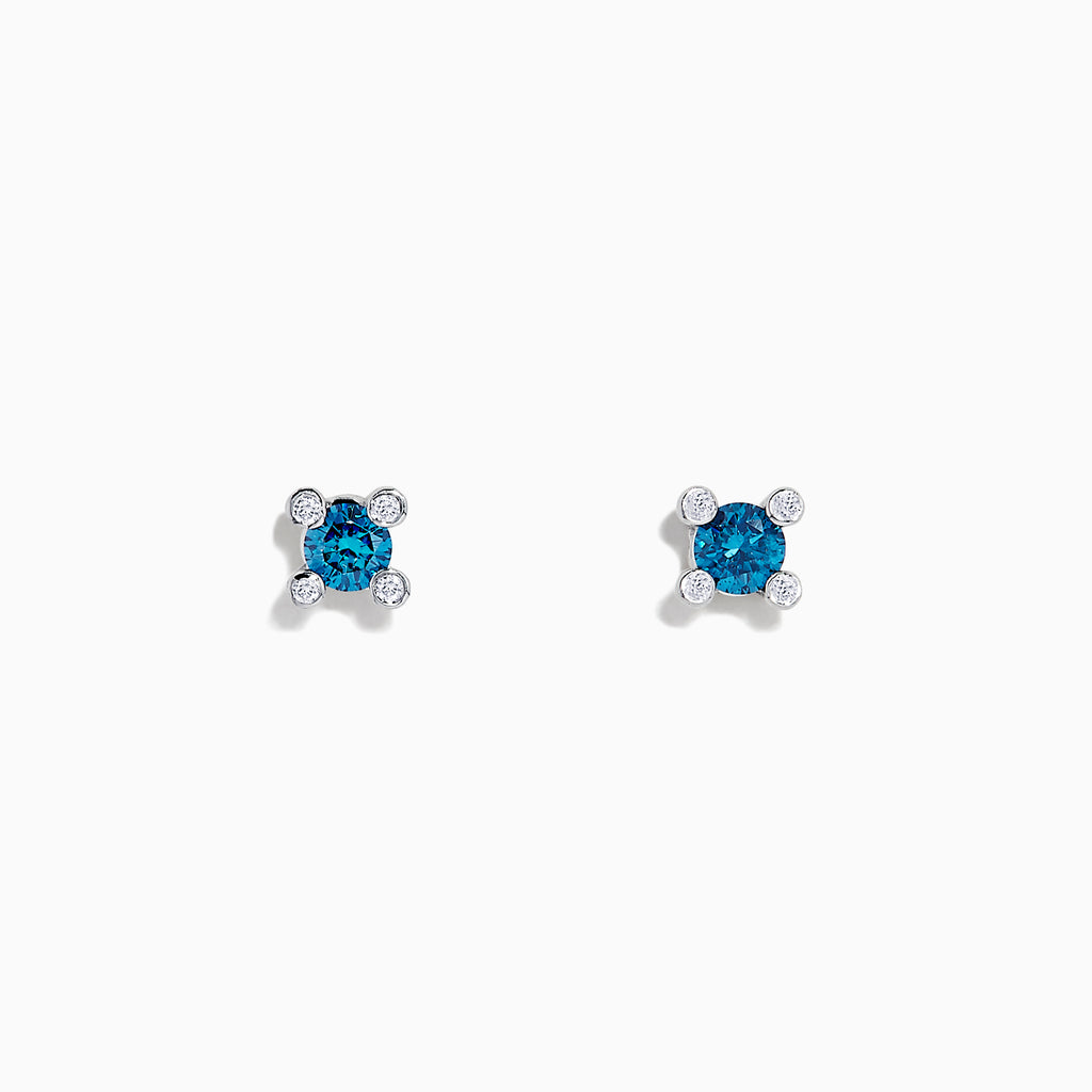 Effy Bella Bleu 14K White Gold Blue Diamond Stud Earrings, 0.28 TCW