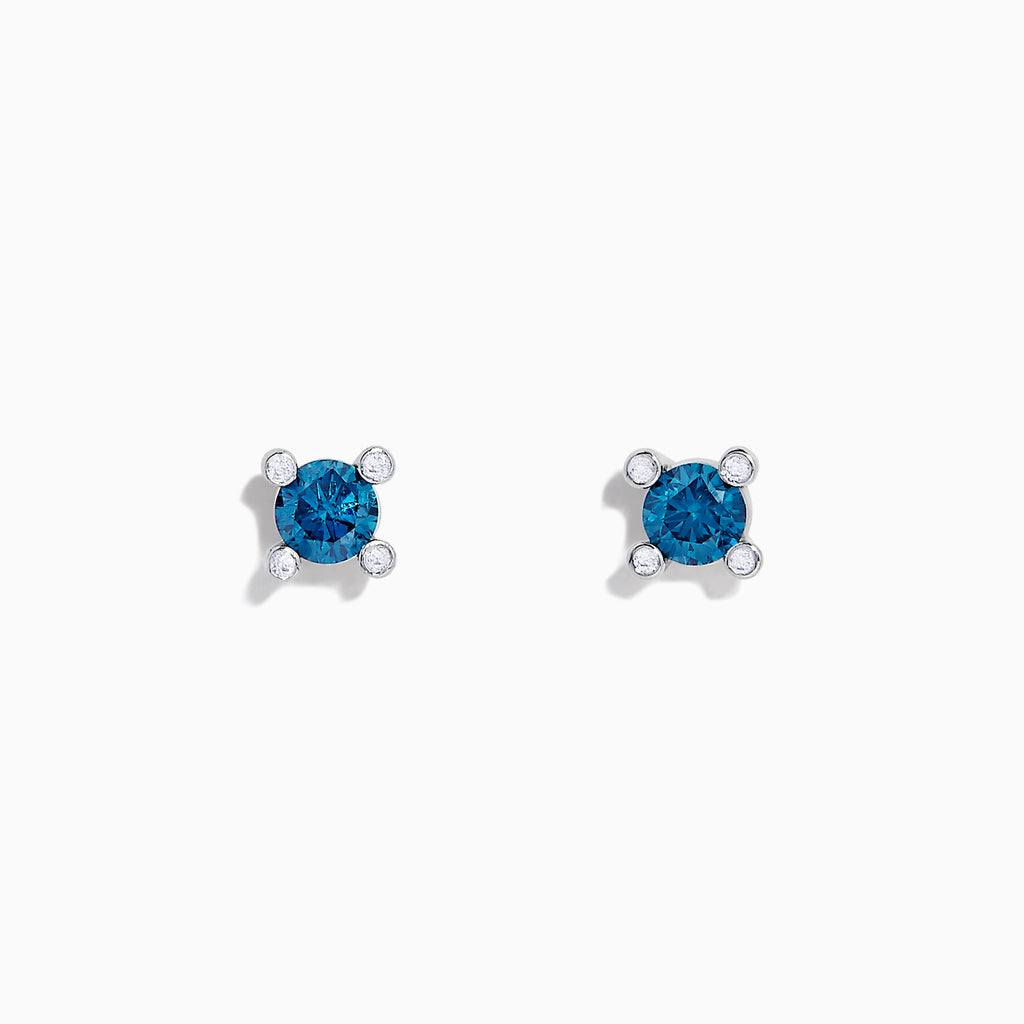 Effy Bella Bleu 14K White Gold Blue Diamond Stud Earrings, 0.53 TCW