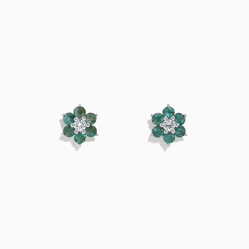 Effy 14K White Gold Alexandrite and Diamond Floral Stud Earrings, 0.55 TCW
