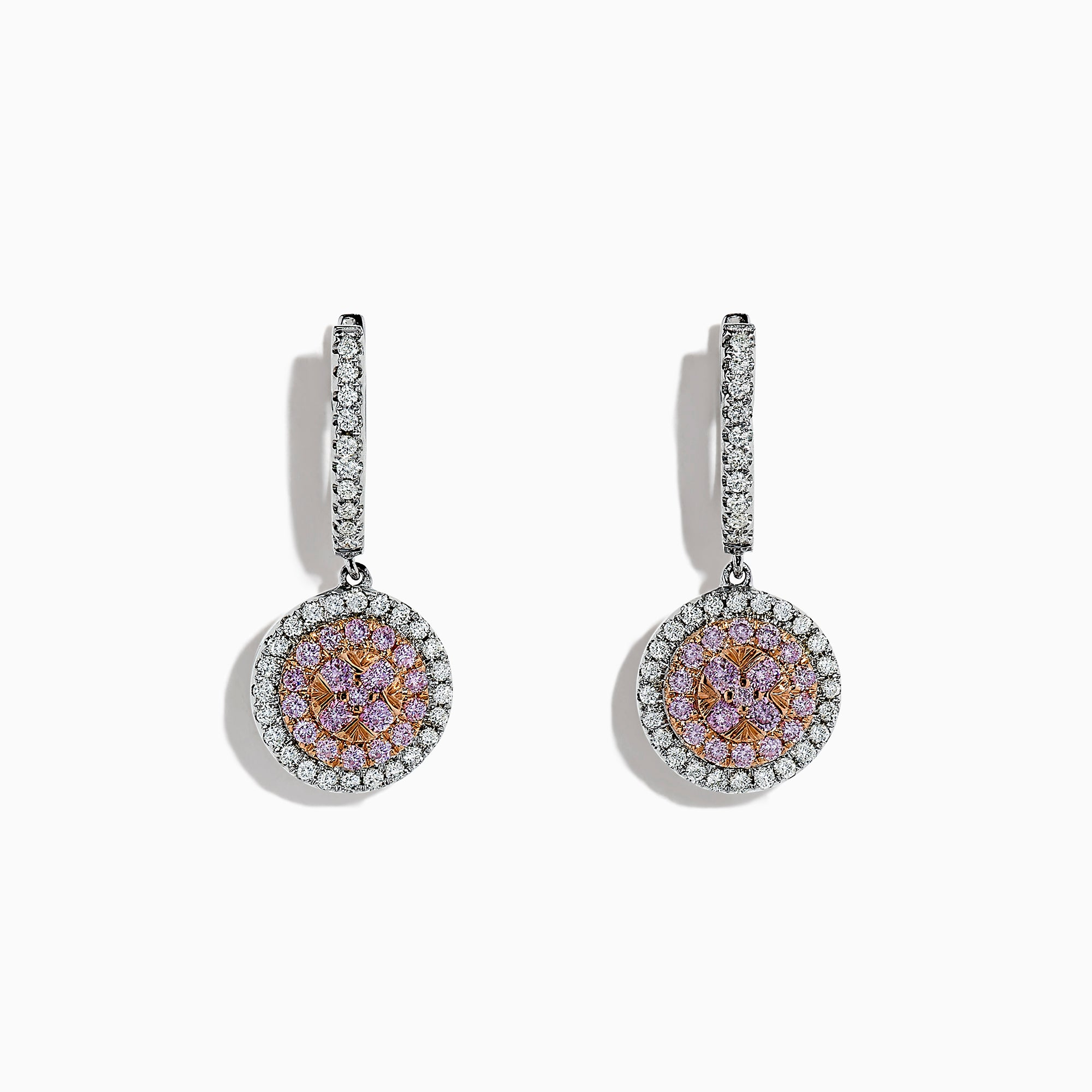 Effy 14K Two Tone Gold Pink and White Diamond Drop Earrings, 0.76 TCW