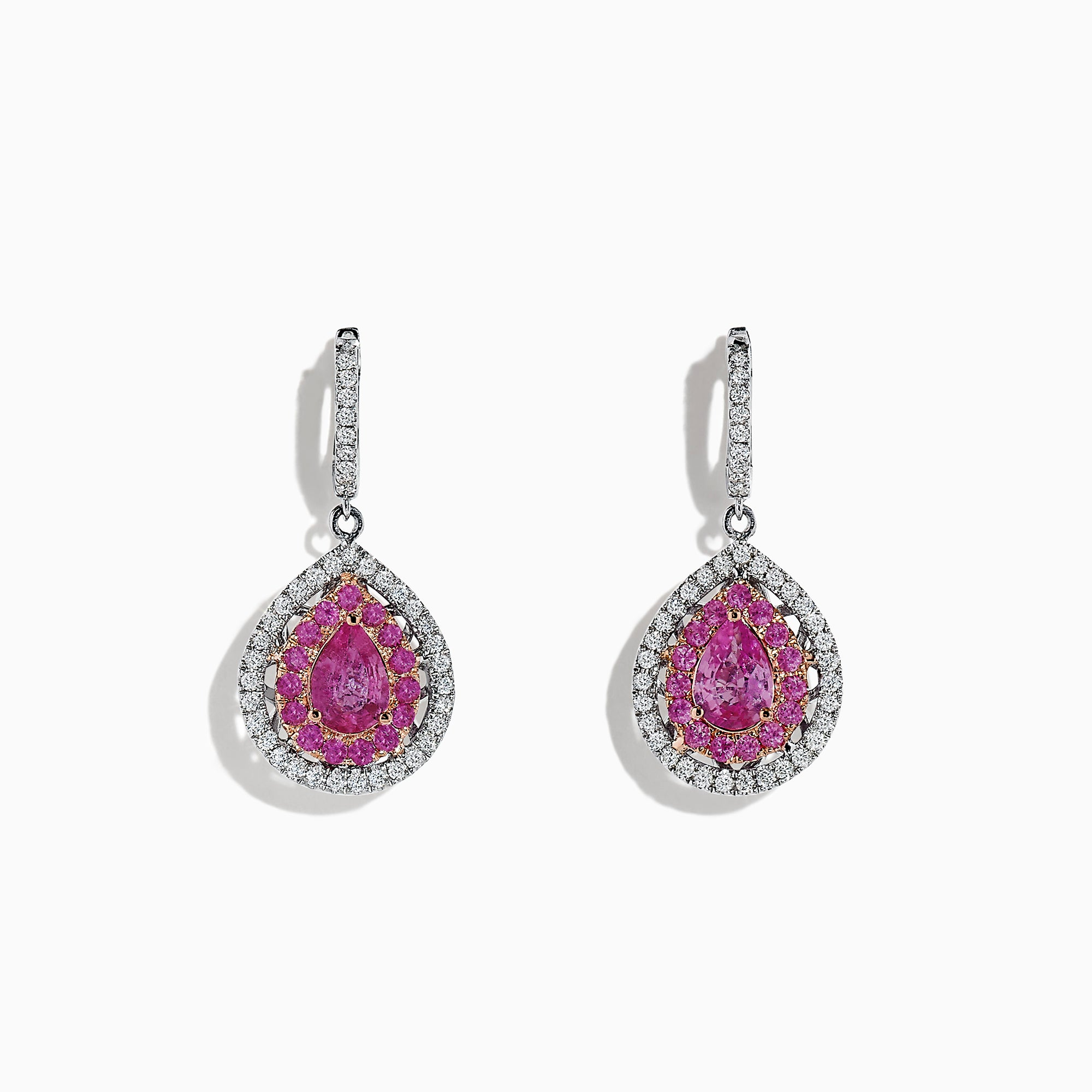 Effy 14K Two Tone Gold Pink Sapphire and Diamond Drop Earrings, 2.73 TCW