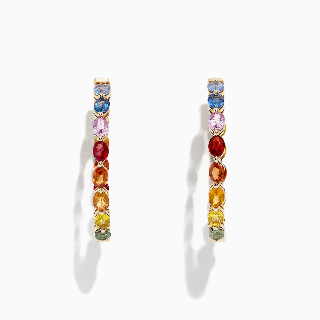 "Effy Watercolors 14K Yellow Gold Multi Sapphire 1"" Hoop Earrings, 6.18 TCW"