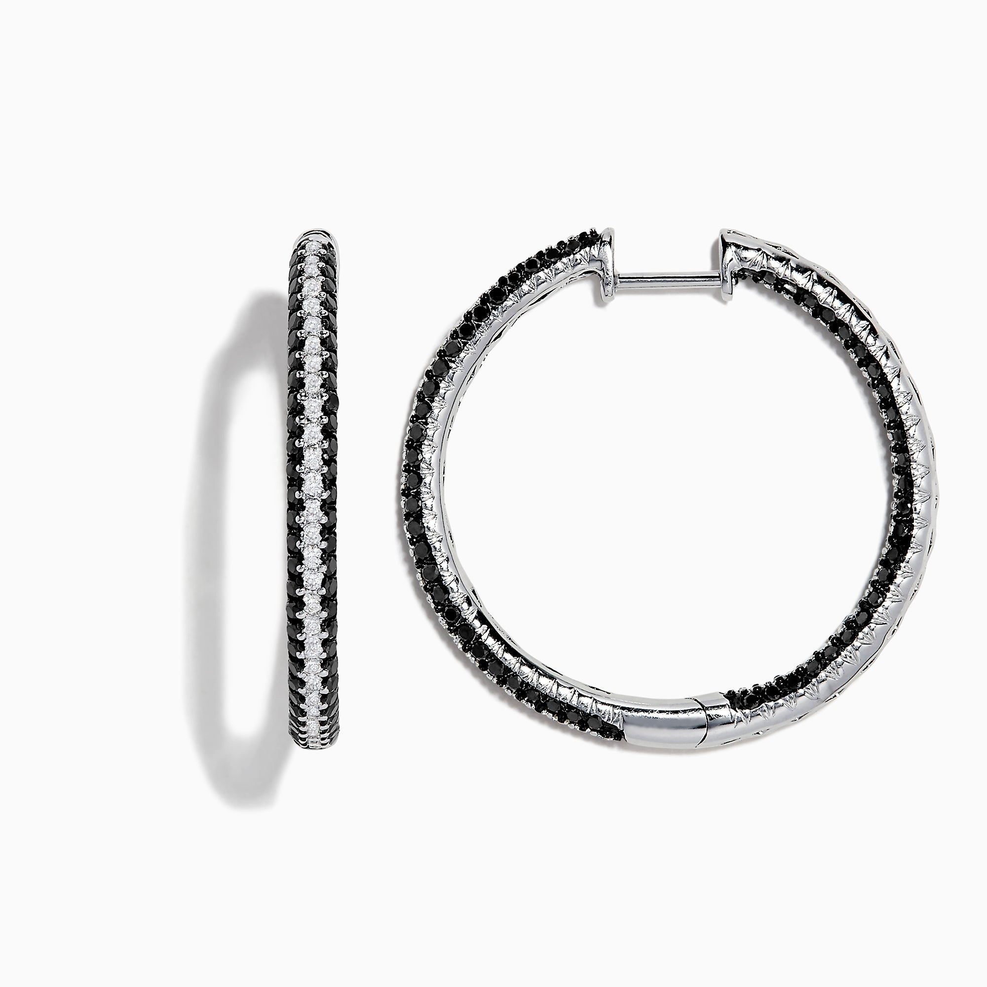Effy 14K White Gold Black and White Diamond Hoop Earrings, 2.04 TCW