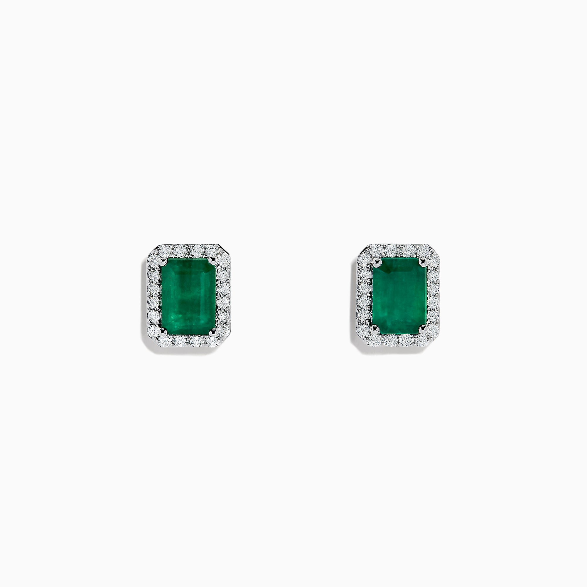 Effy Brasilica 14K White Gold Emerald and Diamond Earrings, 2.15 TCW