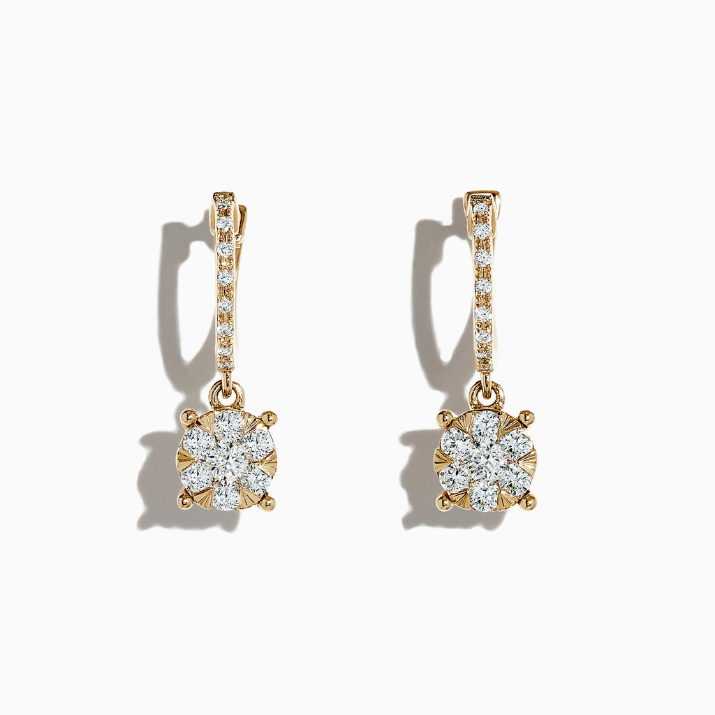 Effy Bouquet 14K Yellow Gold Diamond Cluster Earrings, 0.50 TCW