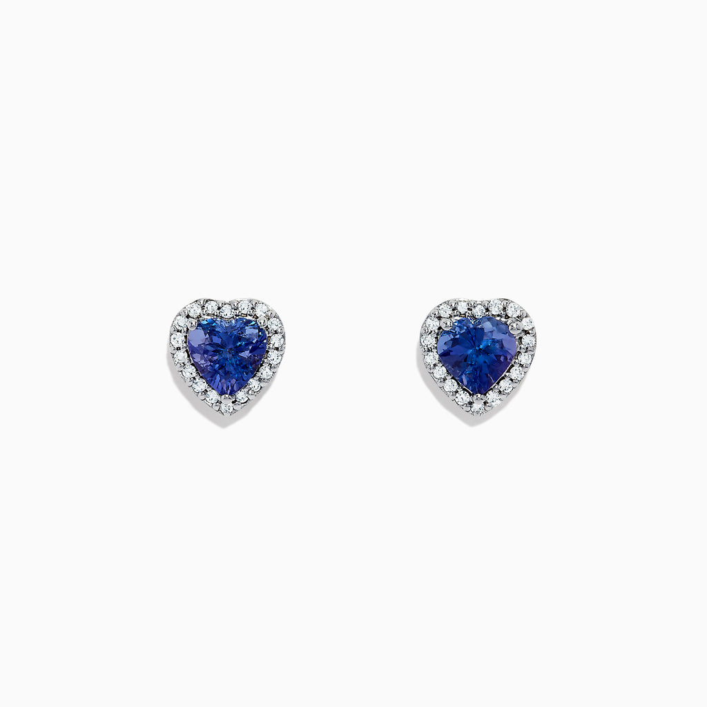 Effy Tanzanite Royale 14K White Gold Tanzanite and Diamond Heart Earrings, 1.51 TCW