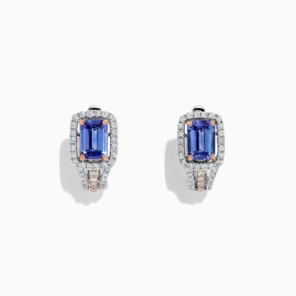 Effy 14K Two Tone Gold Tanzanite and Diamond Earrings, 2.19 TCW