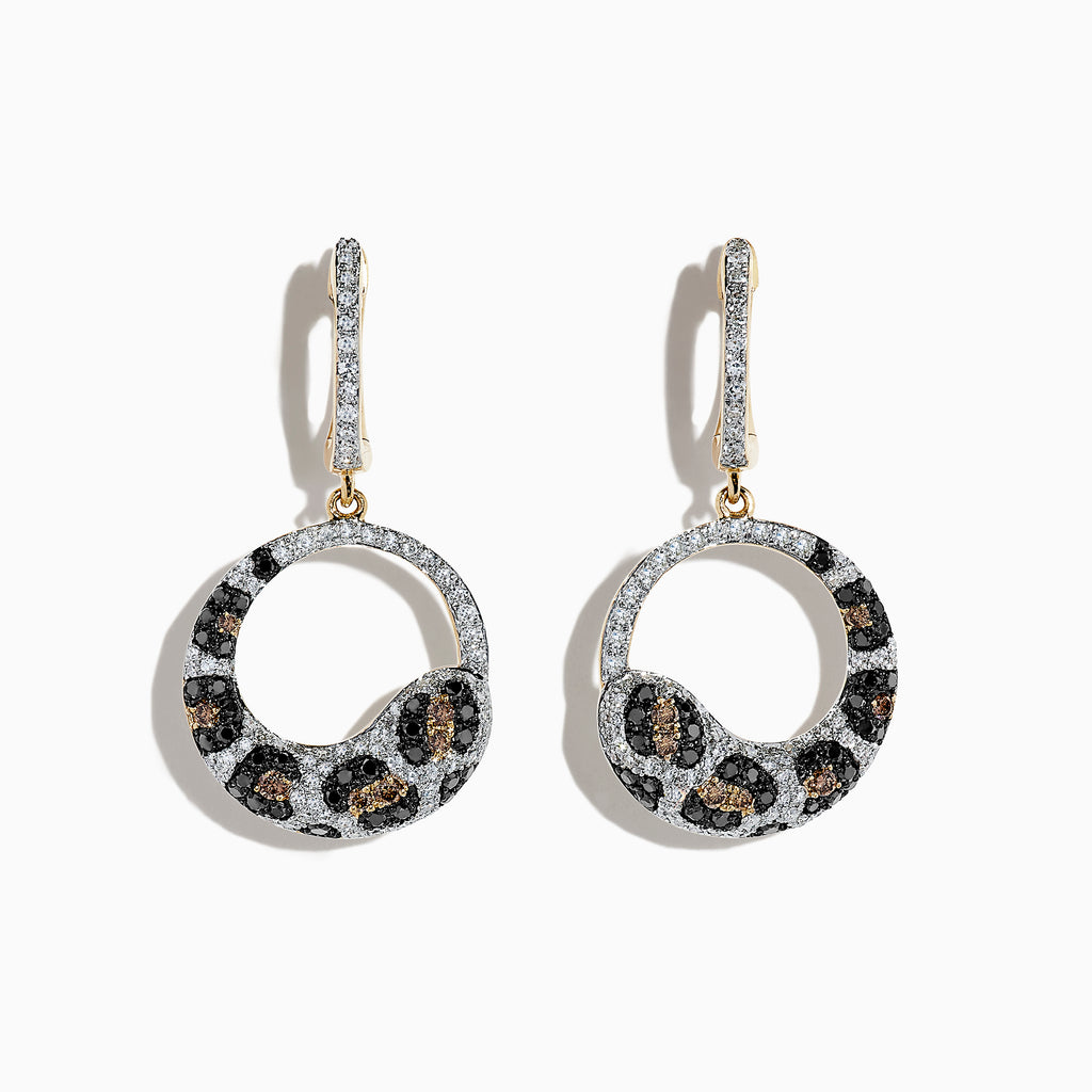 Effy 14K Yellow Gold Diamond Leopard Spot Earrings, 1.24 TCW