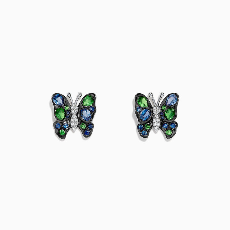 Effy Nature 14K White Gold Sapphire, Tsavorite & Diamond Butterfly Earrings, 1.85 TCW