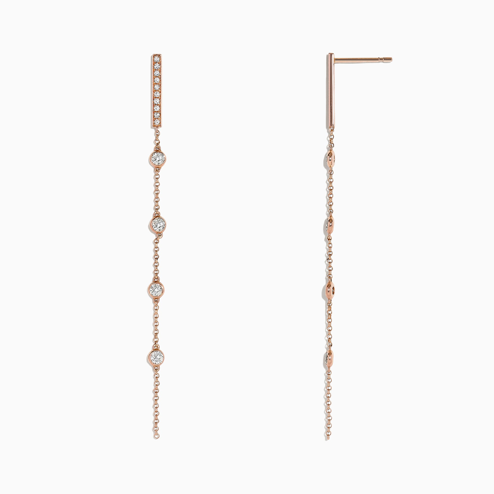 Effy Pave Rose 14K Rose Gold Dimaond Station Earrings, 0.49 TCW