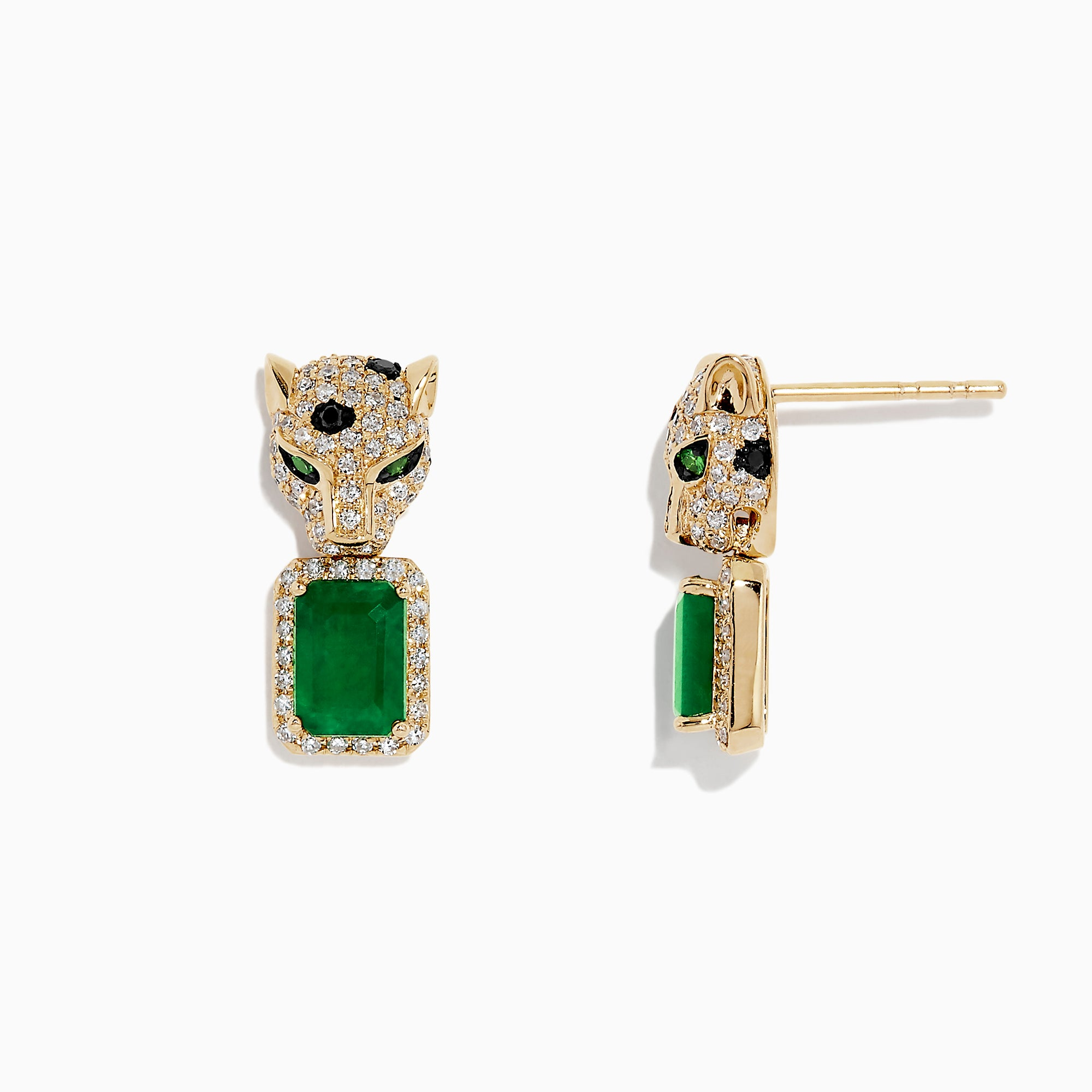 Effy Signature 14K Yellow Gold Diamond and Emerald Earrings, 2.58 TCW
