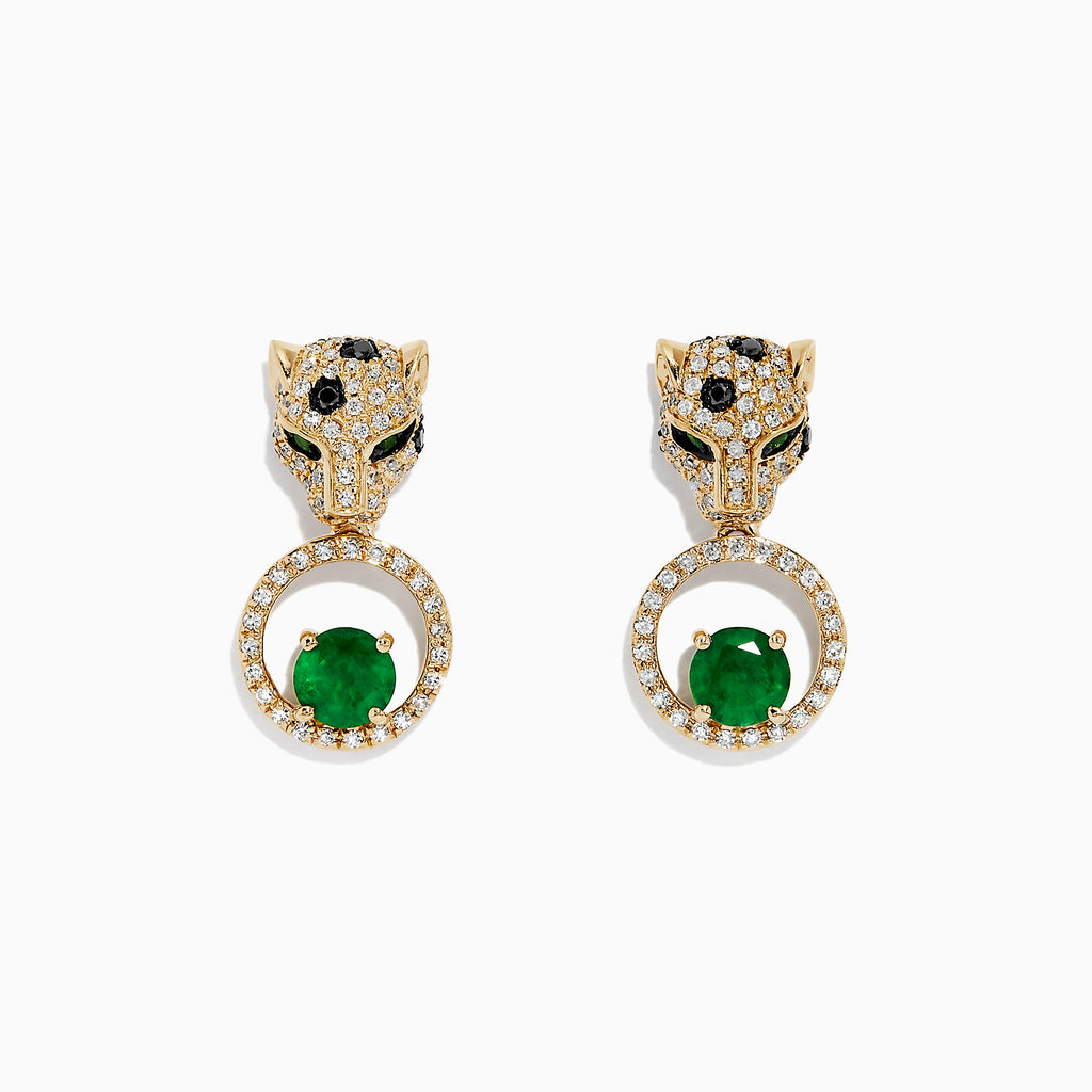 Effy Signature 14K Yellow Gold Emerald and Diamond Earrings, 3.27 TCW