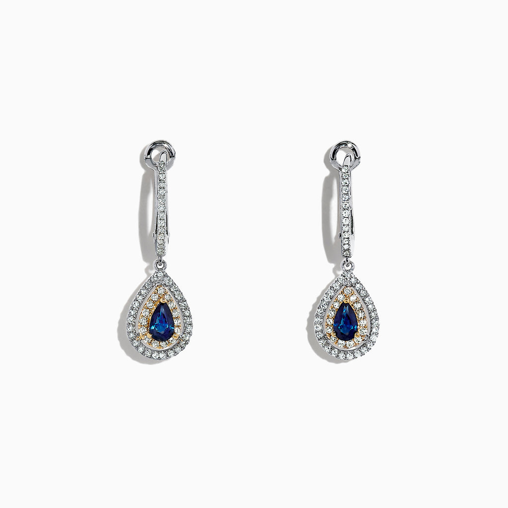 Effy Royale Bleu 14K Two Tone Gold Sapphire and Diamond Earrings, 0.93 TCW