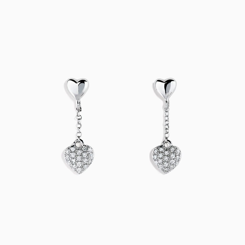 Effy Kidz 14K White Gold Diamond Pave Heart Drop Earrings, 0.10 TCW