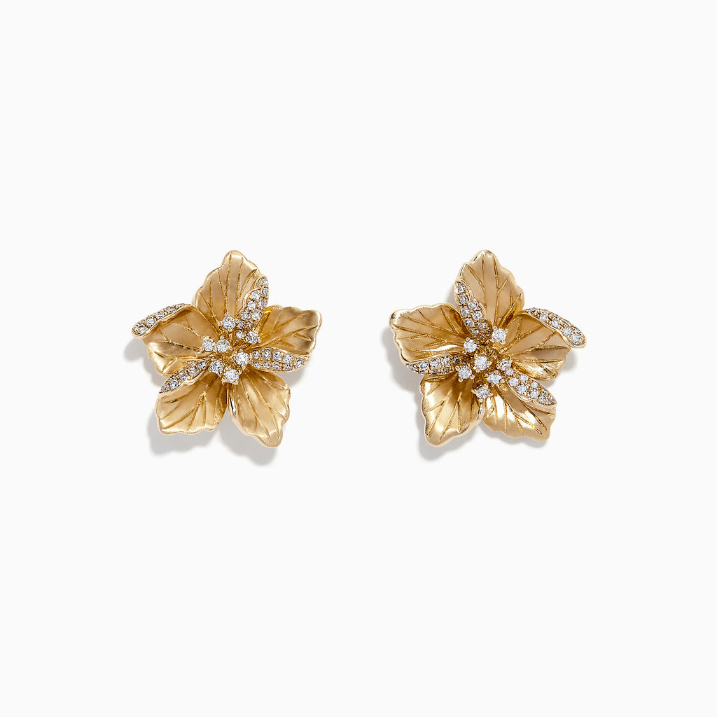 Effy Nature 14K Yellow Gold Diamond Flower Earrings, 0.32 TCW