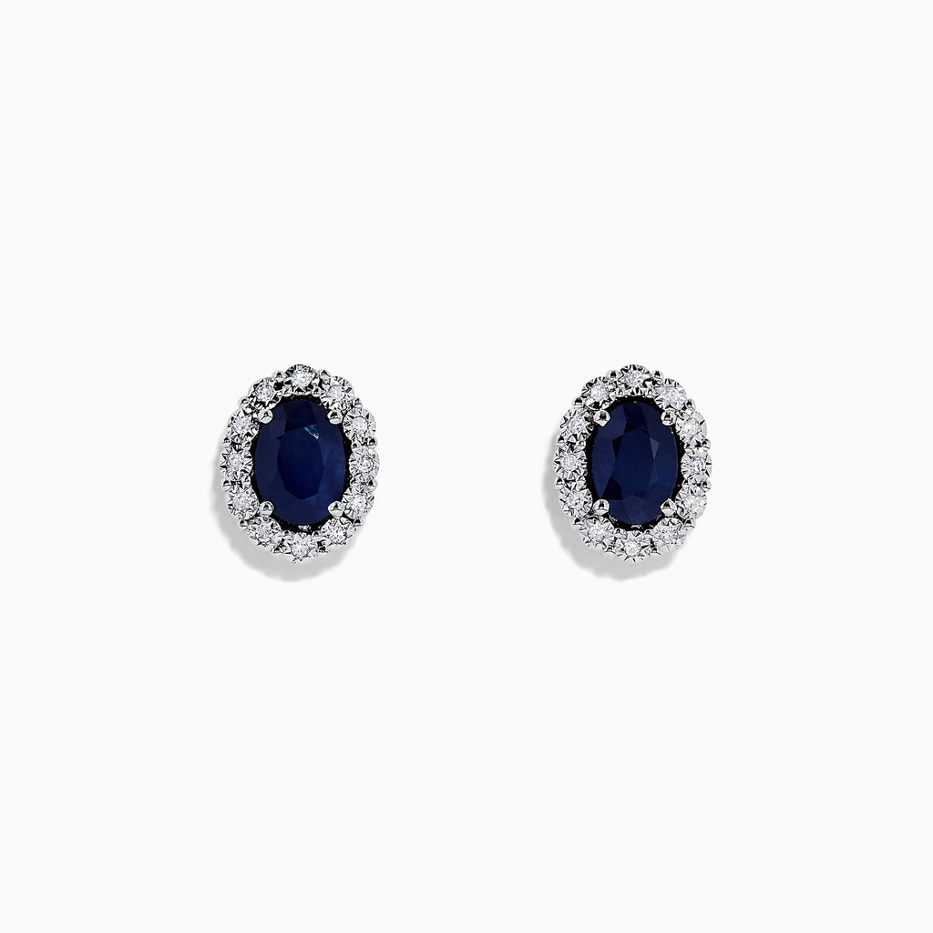 Effy 14K White Gold Blue Sapphire and Diamond Earrings, 1.99 TCW
