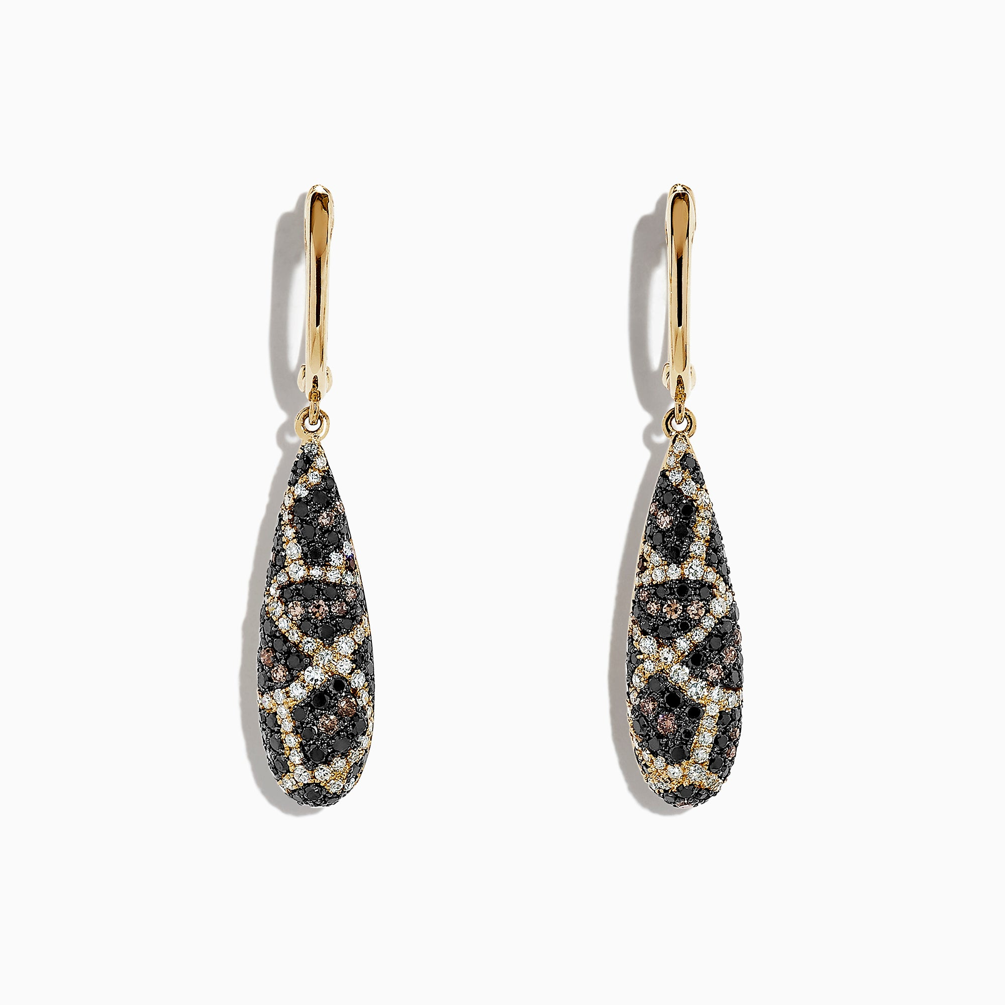 Effy 14K Yellow Gold Espresso, Black and White Diamond Earrings, 1.26 TCW