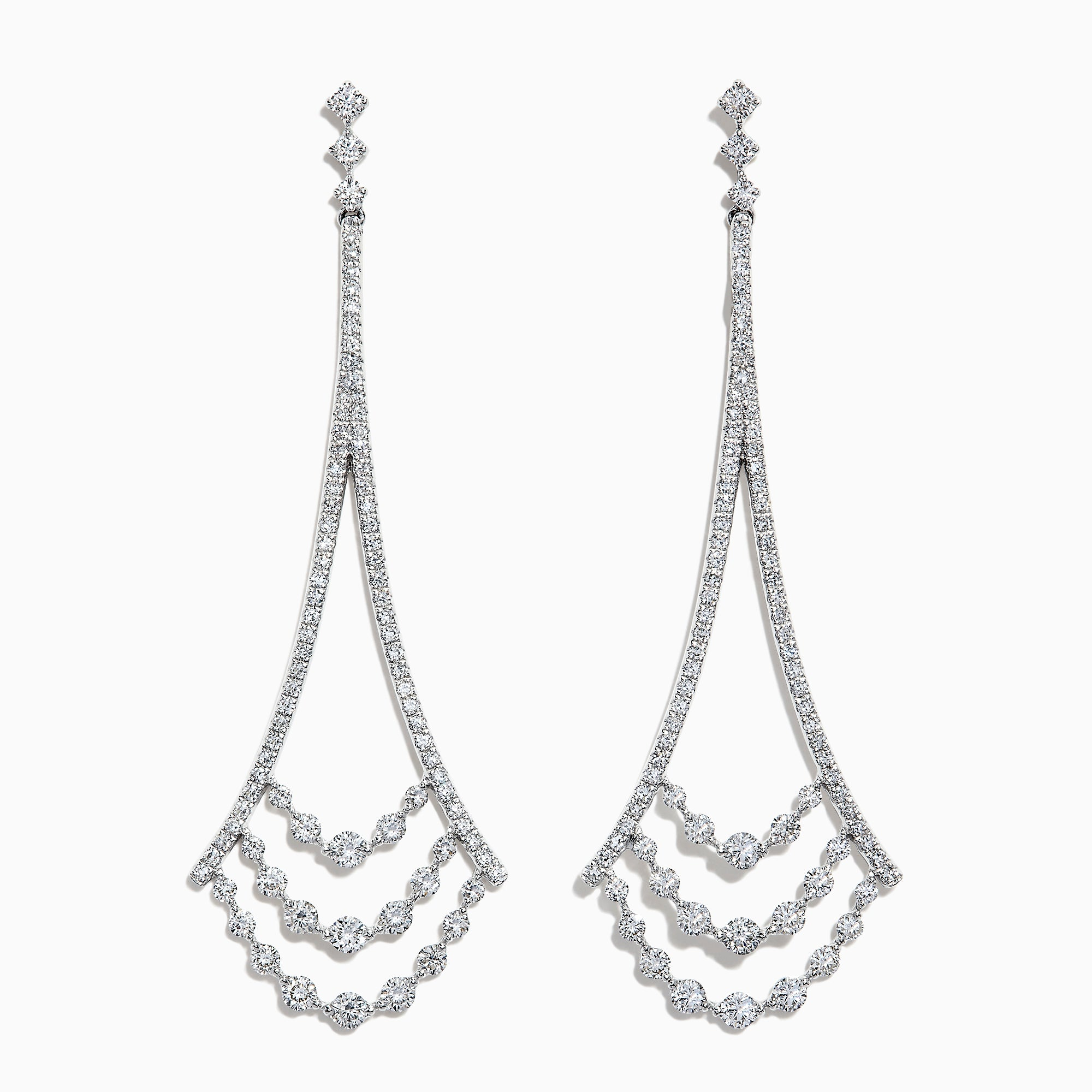 Effy Pave Classica 14K White Gold Diamond Chandelier Earrings, 1.42 TCW