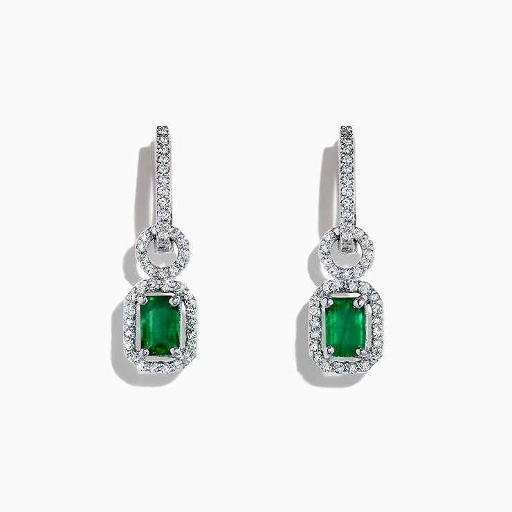 Effy Brasilica 14K White Gold Emerald and Diamond Drop Earrings, 1.47 TCW