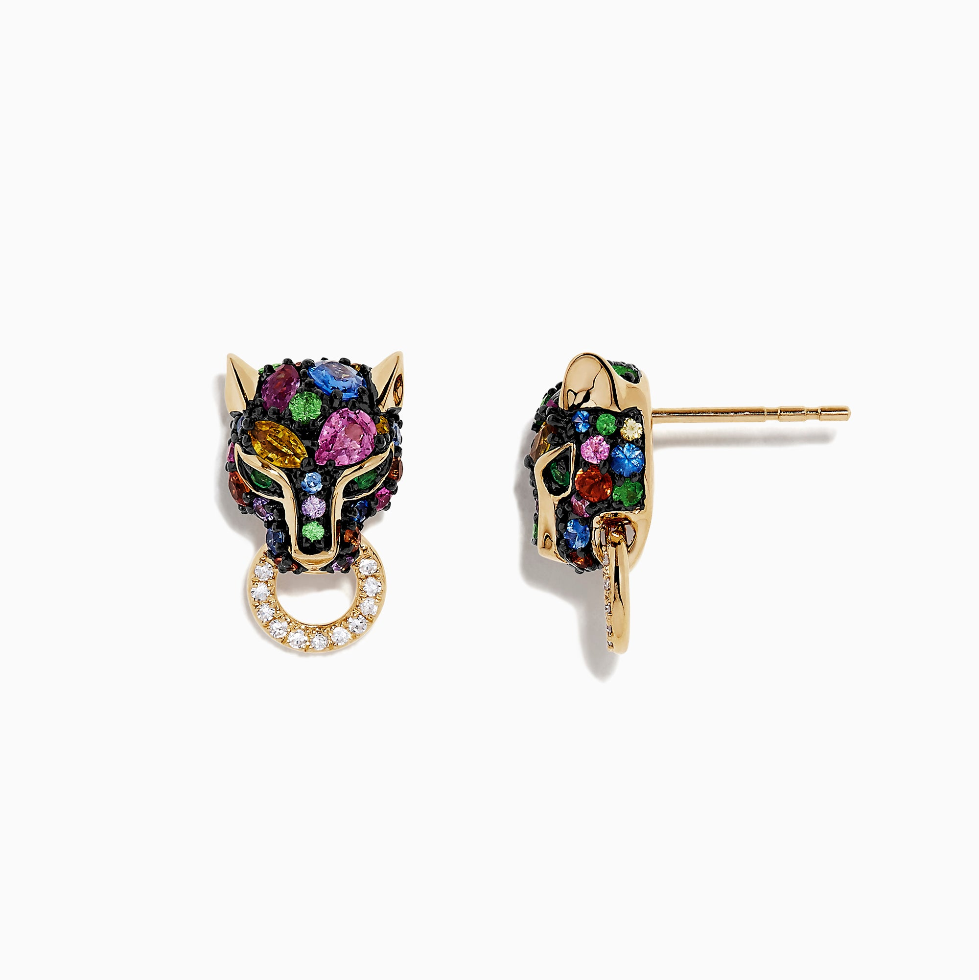 Effy Signature 14K Gold Multi Sapphire and Diamond Earrings, 2.76 TCW