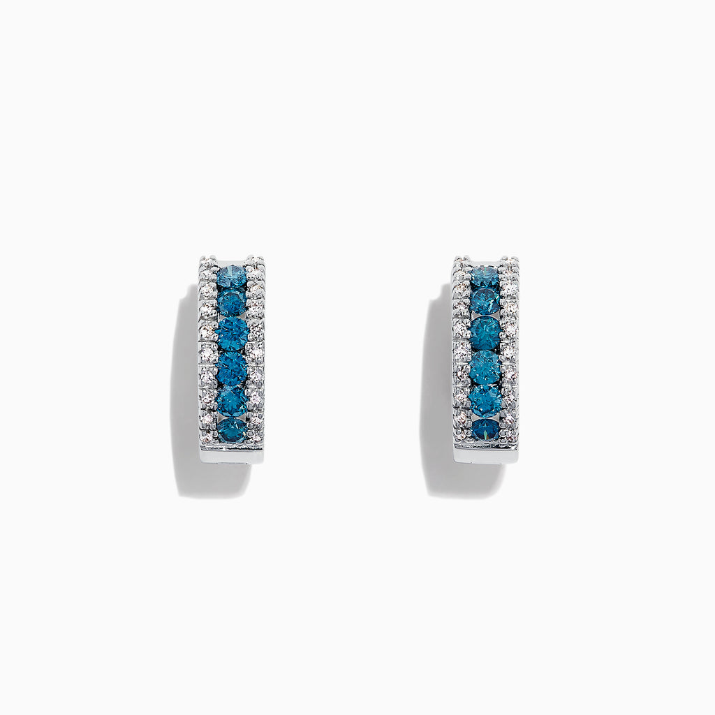 Effy Bella Bleu 14K White Gold Blue & White Diamond Hoop Earrings, 0.92 TCW