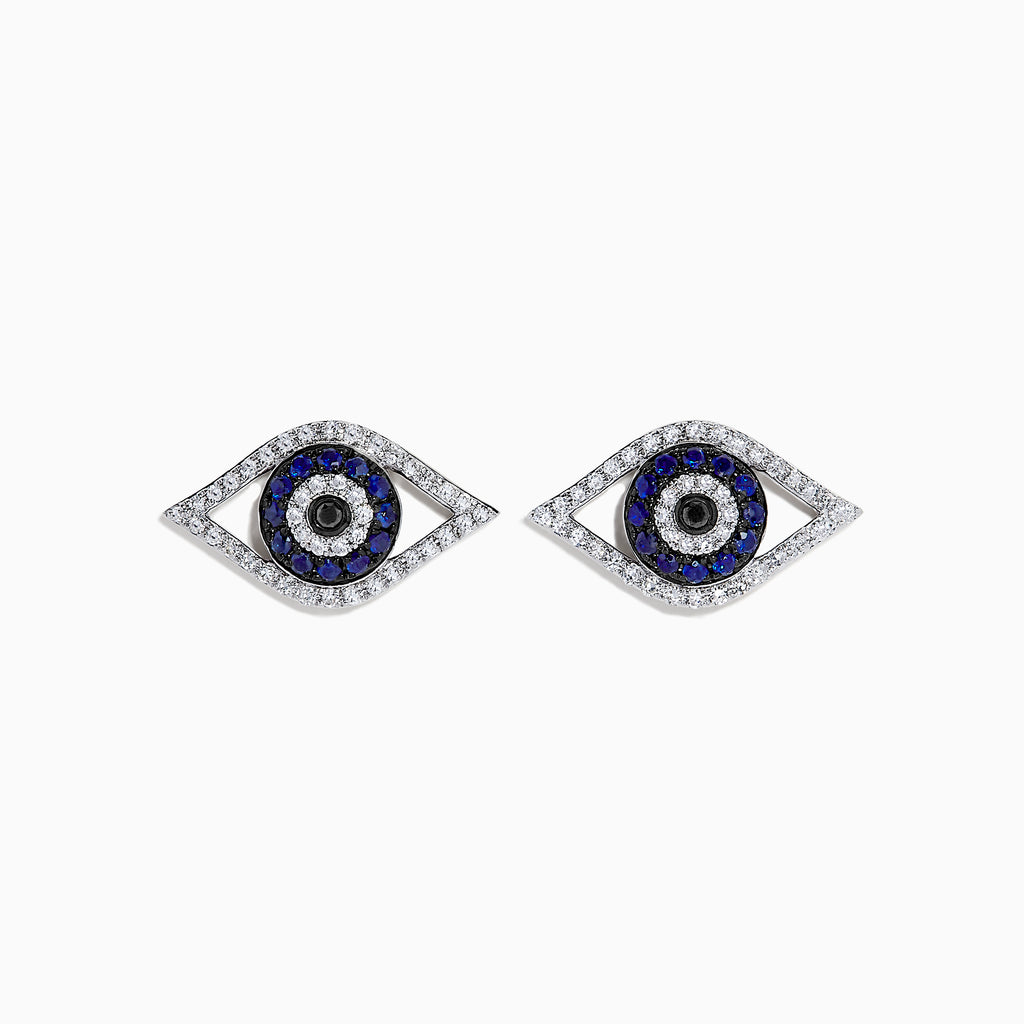 Effy Novelty 14K White Gold Sapphire & Diamond Evil Eye Earrings, 0.57 TCW