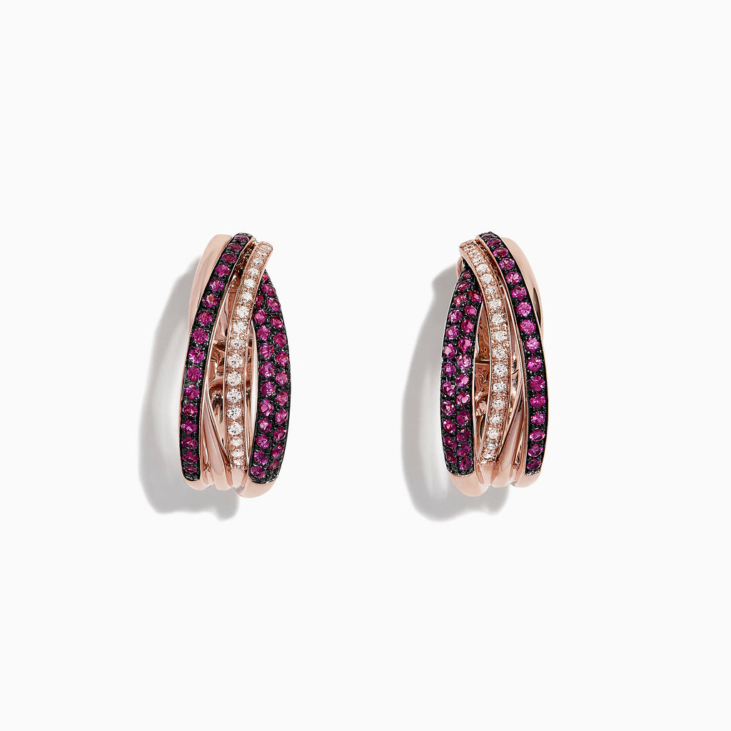 Effy Ruby Royale 14K Rose Gold Ruby and Diamond Earrings, 0.61 TCW