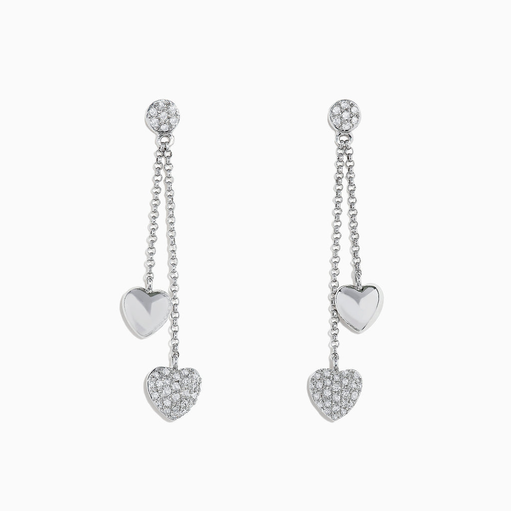 Effy 14K White Gold Diamond Hearts Earrings, 0.25 TCW