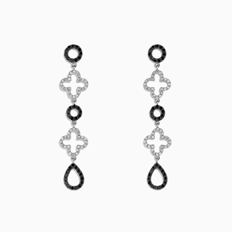 Effy 14K White Gold Black and White Diamond Drop Earrings, 1.16 TCW