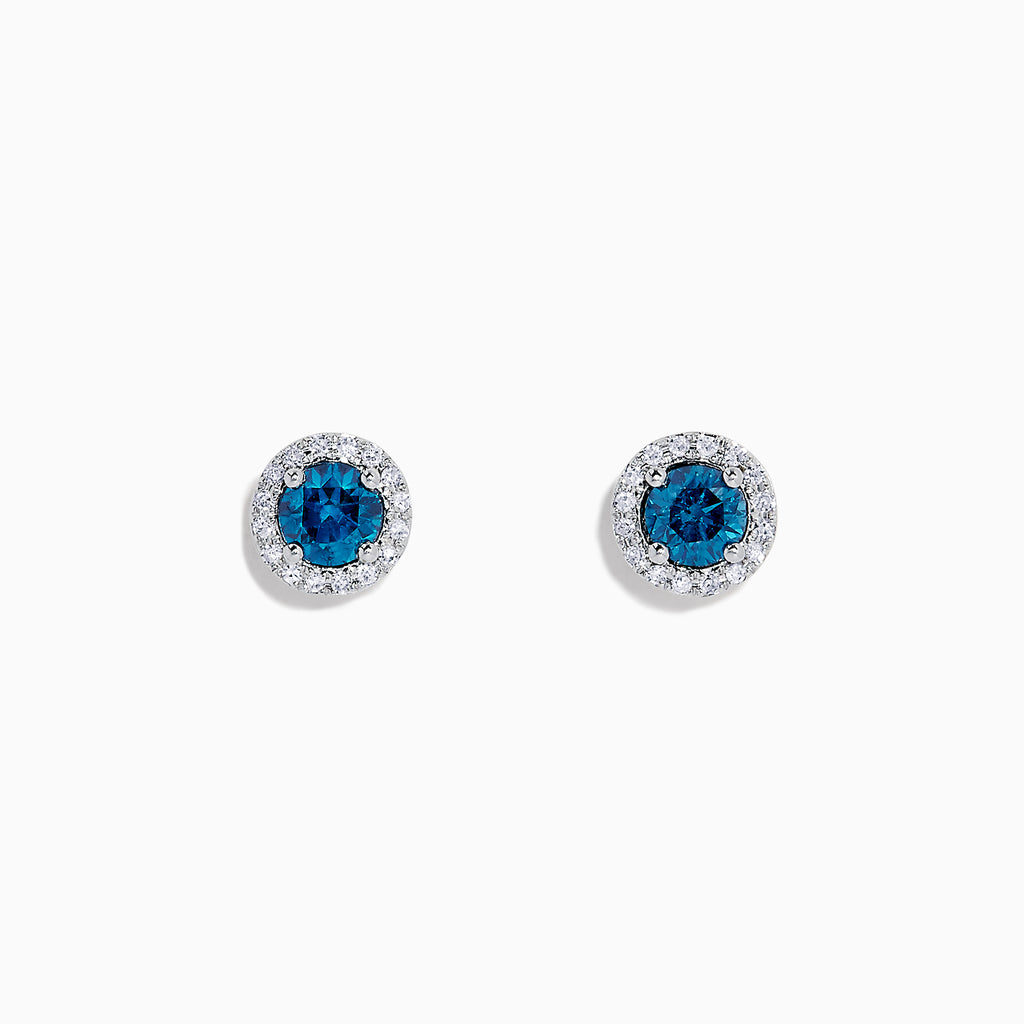 Effy Bella Bleu 14K Gold Blue and White  Diamond Stud Earrings, 0.71 TCW