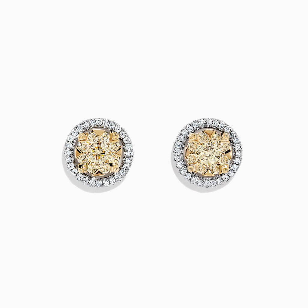 Effy Canare 14K Two Tone Gold Yellow and White Diamond Earrings, 0.98 TCW