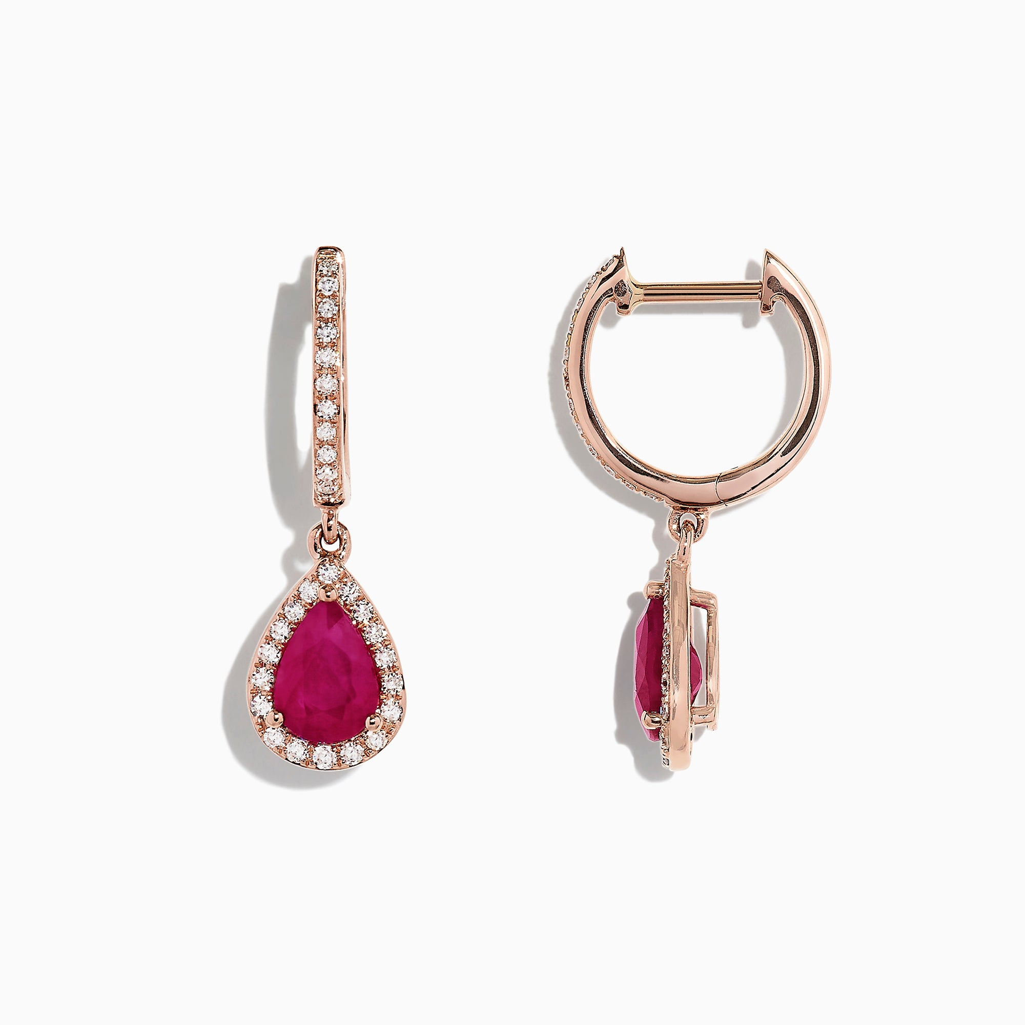 Effy Ruby Royale 14K Rose Gold Ruby and Diamond Drop Earrings, 1.68 TCW