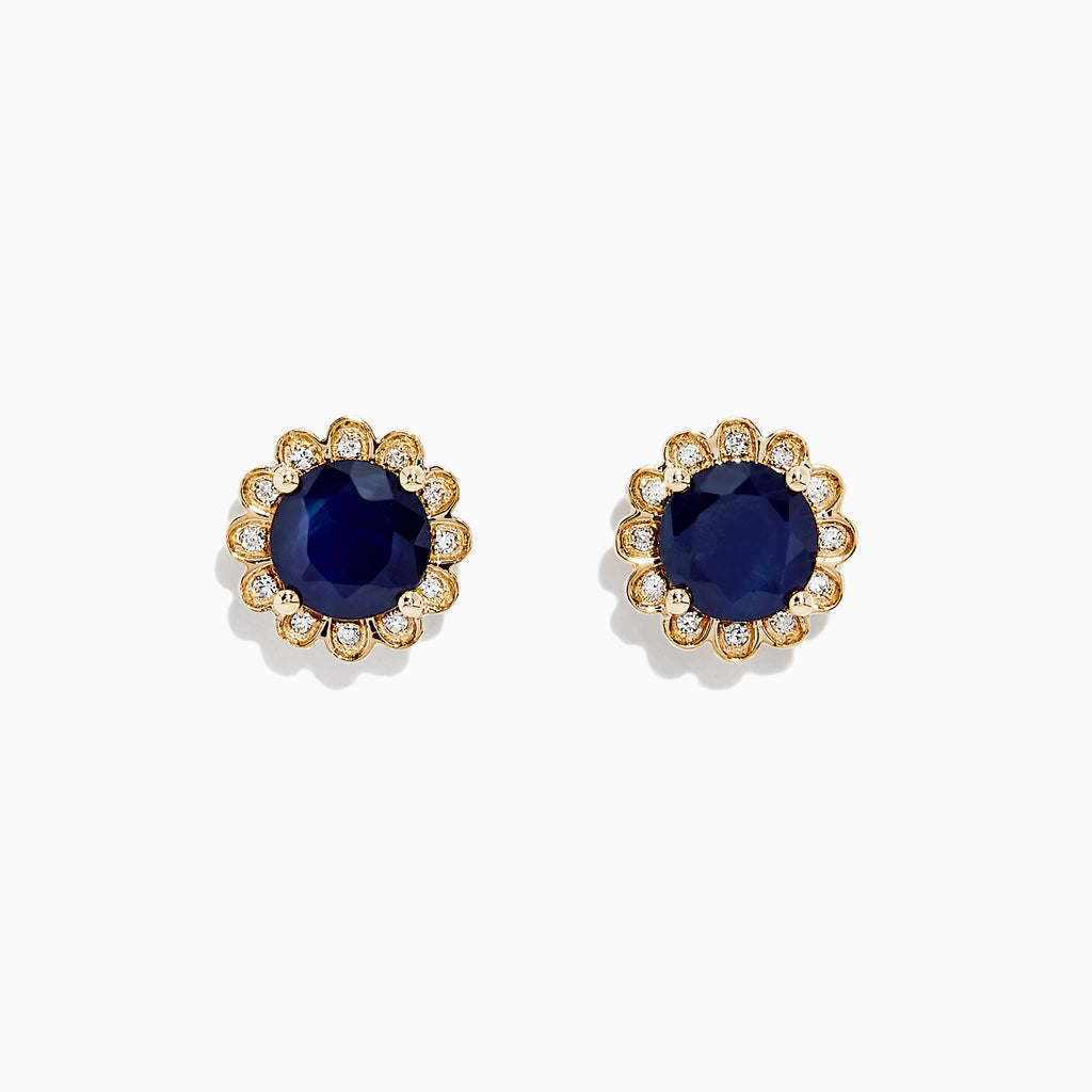 Effy Royale Bleu 14K Yellow Gold Sapphire and Diamond Earrings, 2.09 TCW