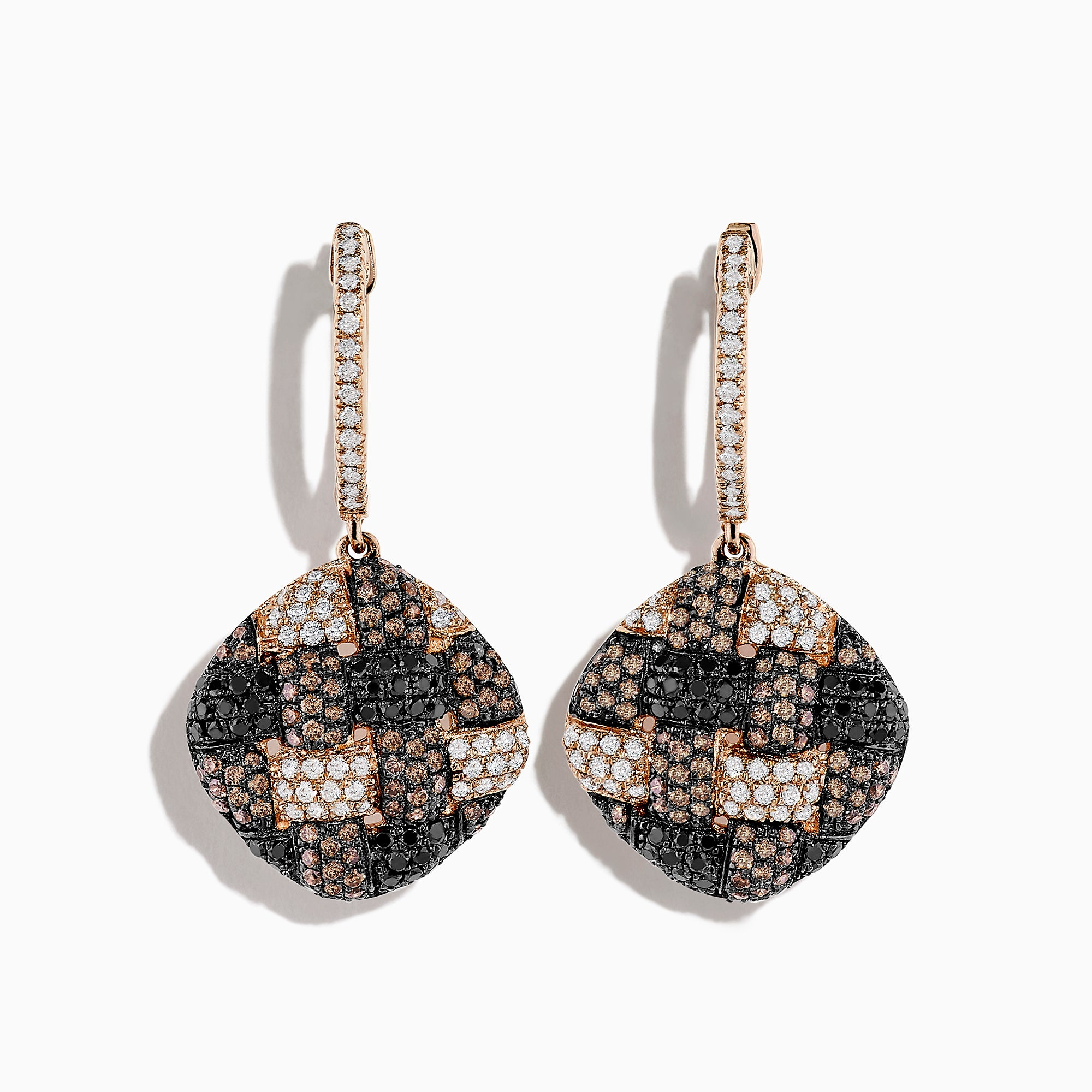 Effy 14K Rose Gold Espresso, Black and White Diamond Earrings, 1.60 TCW