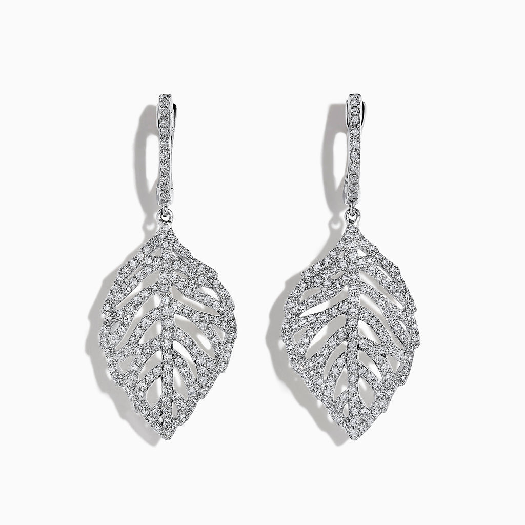 Effy Pave Classica 14K White Gold Diamond Leaf Earrings, 1.03 TCW