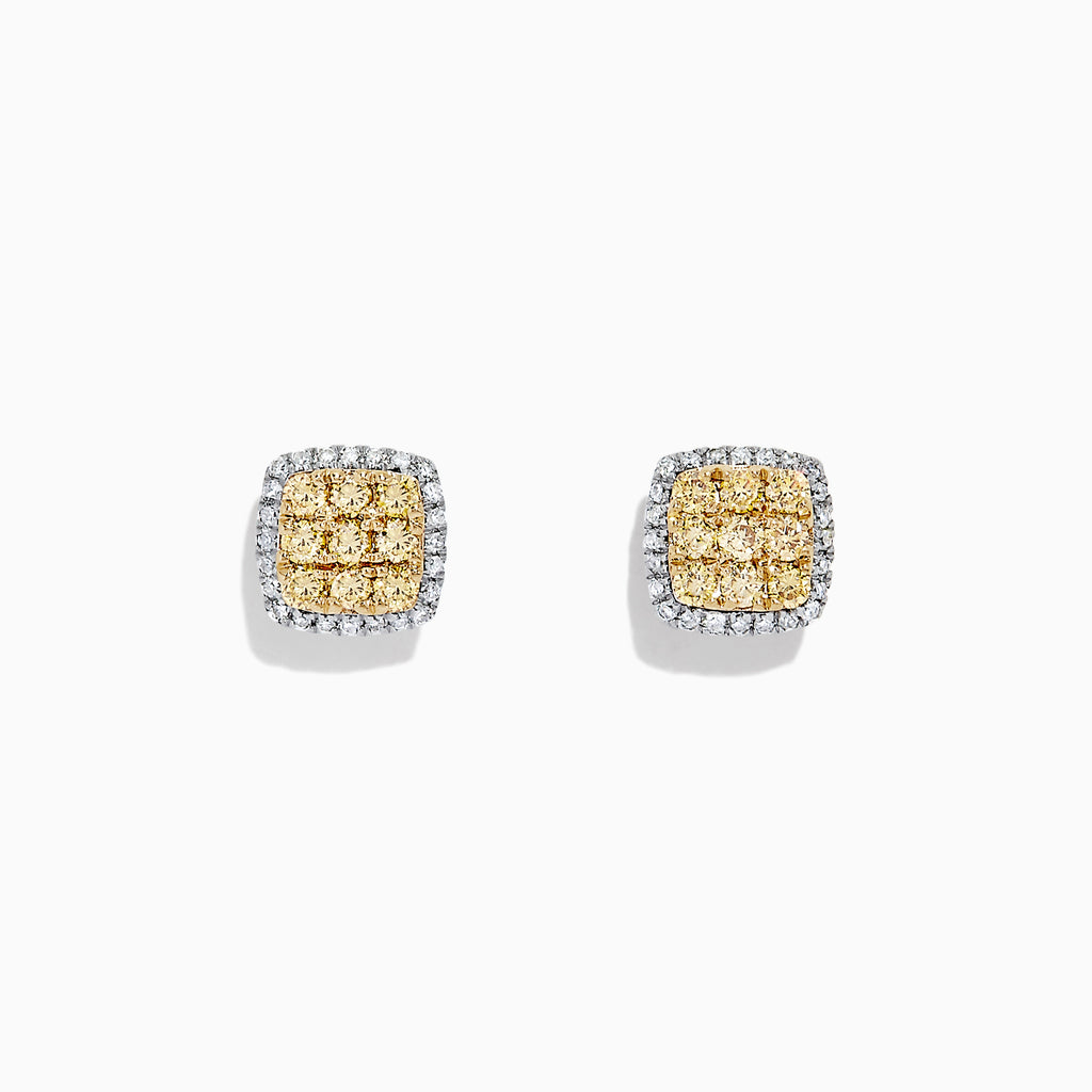 Effy 14K 2-Tone Gold Yellow and White Diamond Earrings, 0.50 TCW