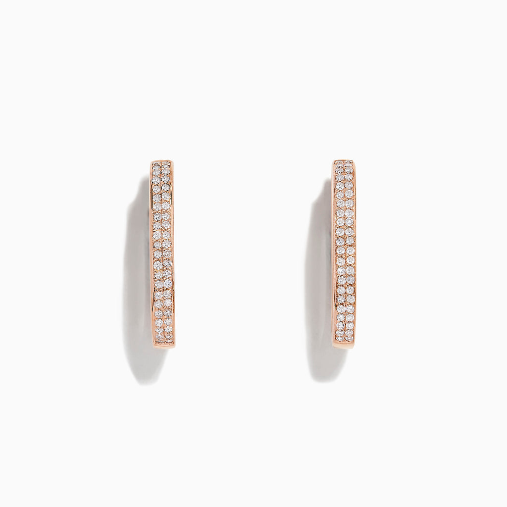 Effy Pave Rose 14K Rose Gold Diamond Hoop Earrings, 0.34 TCW