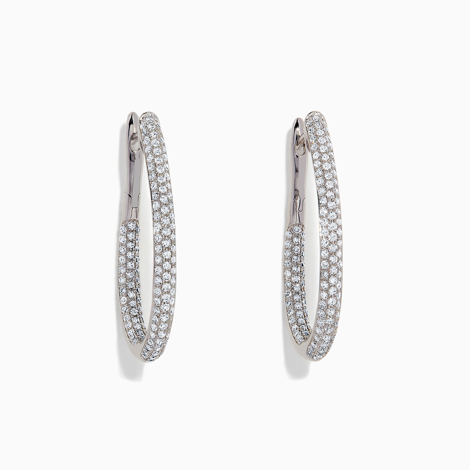 Effy 14K White Gold Diamond Hoop Earrings, 1.06 TCW