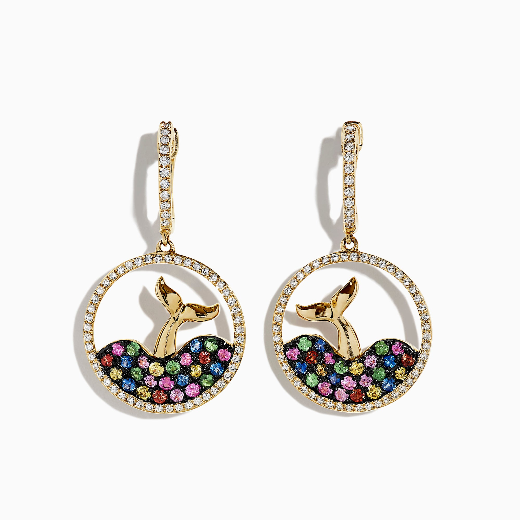 Effy 14K Gold Multi Sapphire & Diamond Whale's Tail Earrings, 1.35 TCW