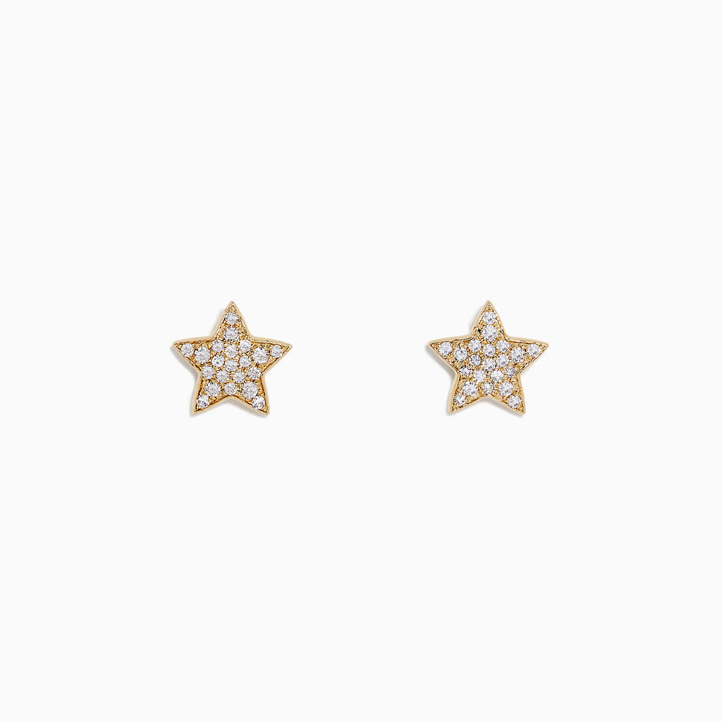 Effy Novelty 14K Yellow Gold Diamond Star Stud Earrings, 0.14 TCW