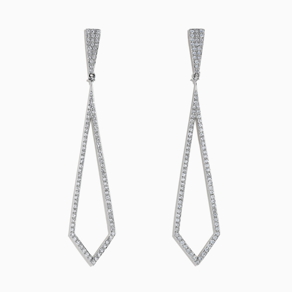 Effy Pave Classica 14K White Gold Diamond Drop Earrings, 0.77 TCW