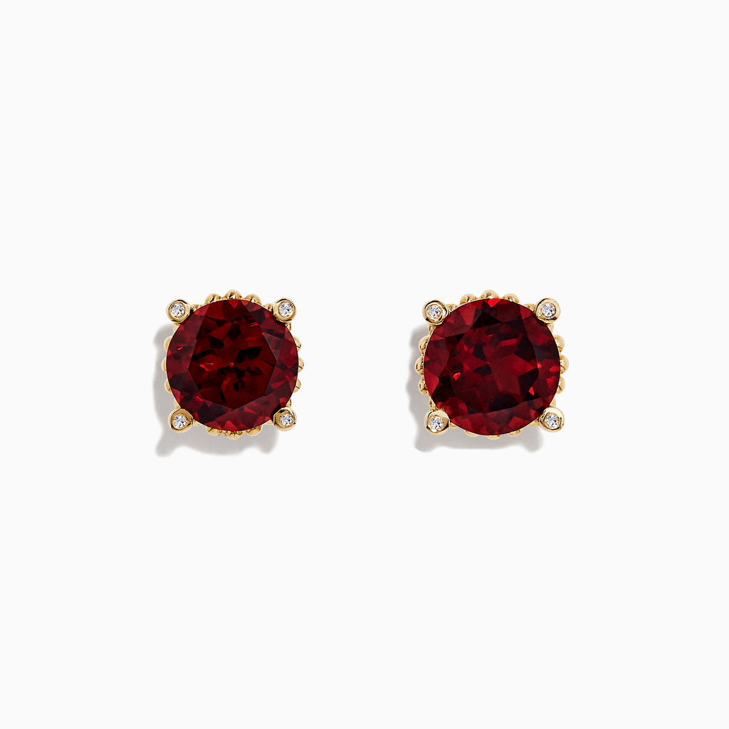 Effy Bordeaux 14K Yellow Gold Garnet and Diamond Earrings, 11.32 TCW
