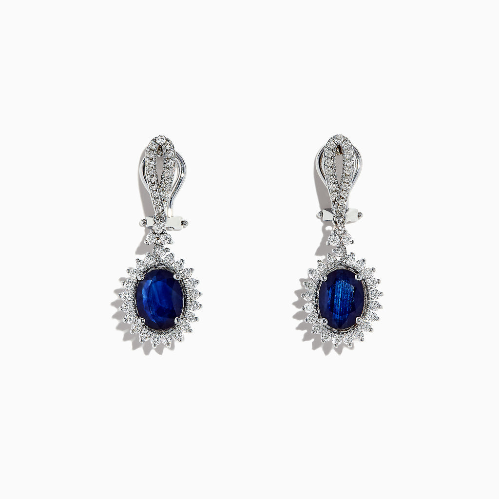Effy 14K White Gold Blue Sapphire & Diamond Drop Earrings, 3.90 TCW