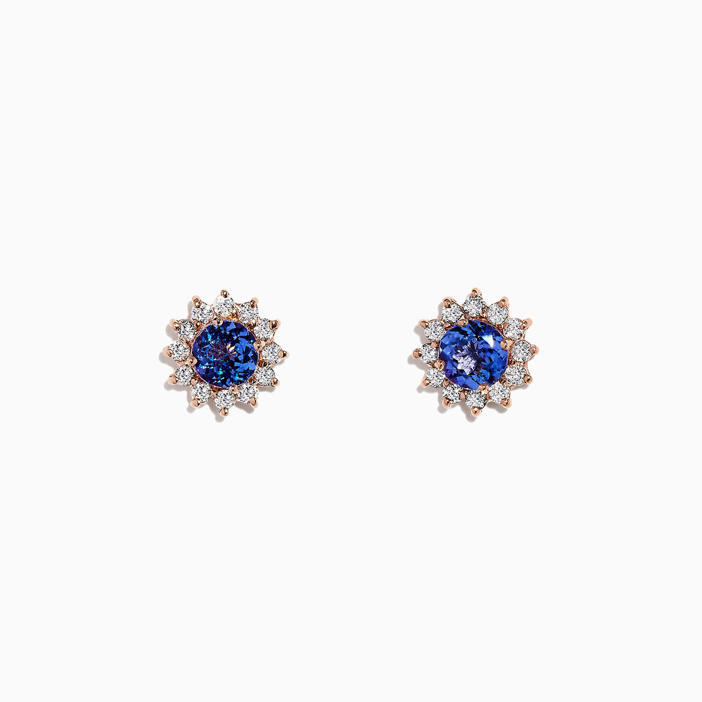 Effy 14K Rose Gold Tanzanite and Diamond Earrings, 2.07 TCW