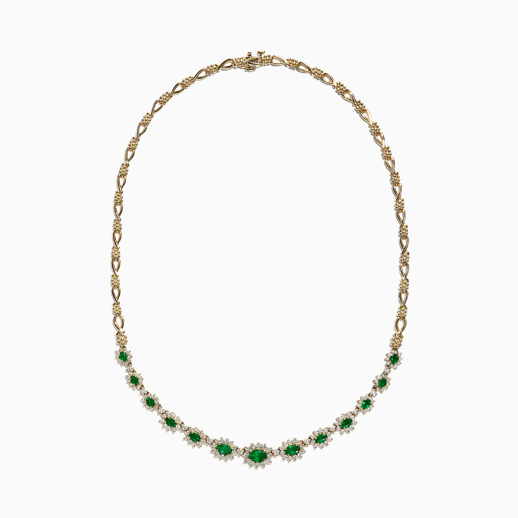 Effy 14K Yellow Gold Emerald and Diamond Necklace, 6.06 TCW