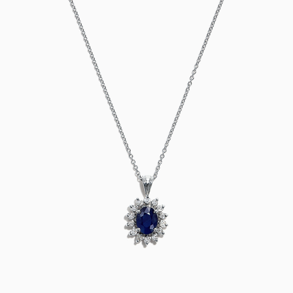 Effy 14K White Gold Sapphire and Diamond Pendant, 1.76 TCW