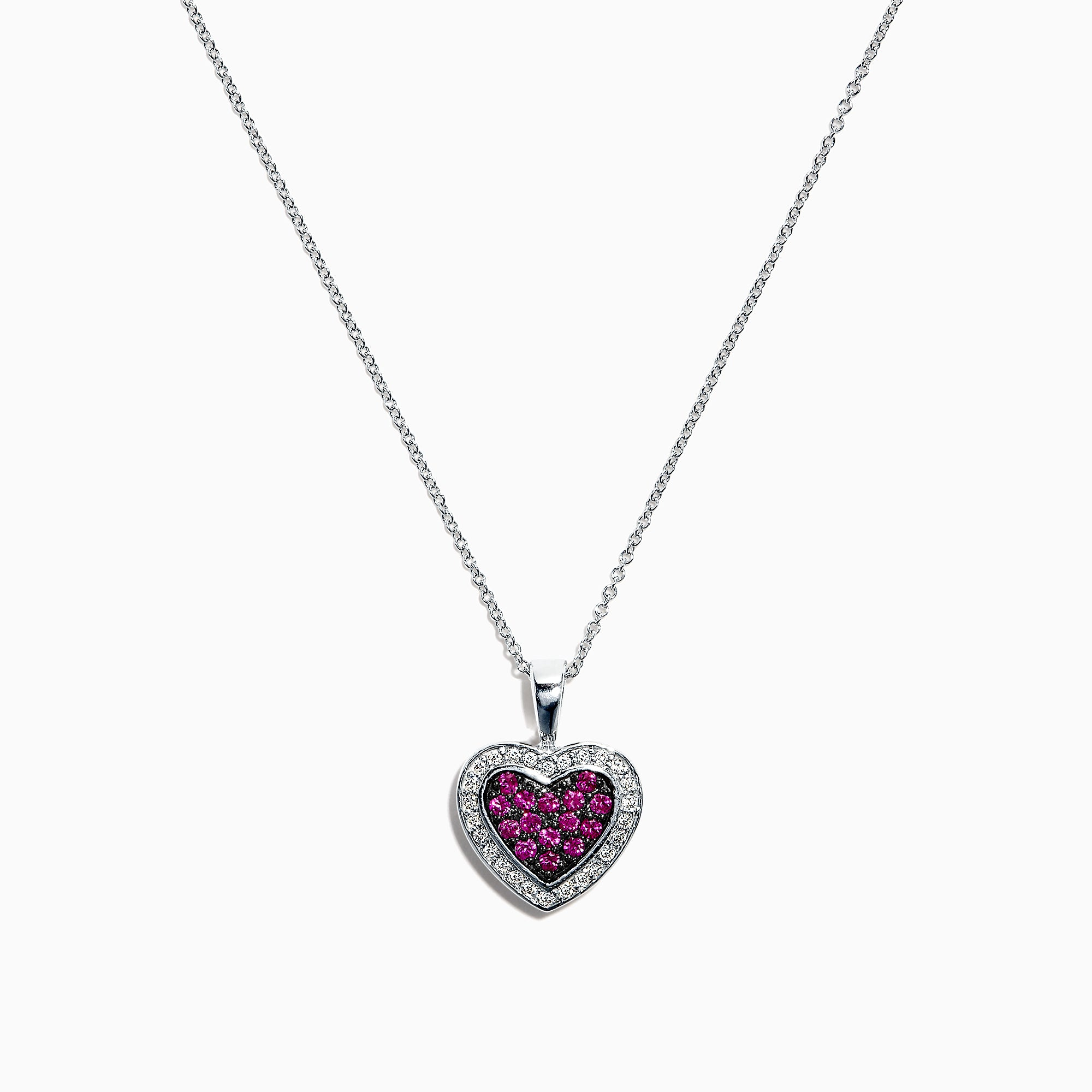 Effy 14K White Gold Ruby and Diamond Heart Pendant, 0.52 TCW