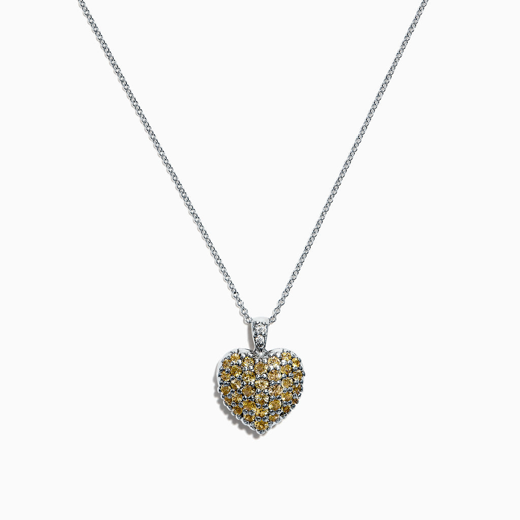 Effy 14K White Gold Yellow Sapphire & Diamond Pendant, 1.25 TCW