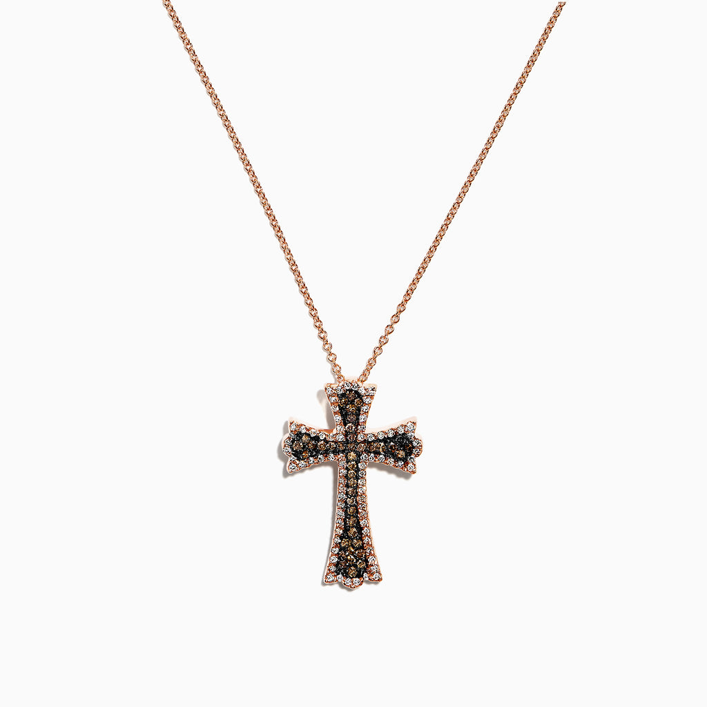 Effy 14K Rose Gold Espresso & White Diamond Cross Pendant, 0.46 TCW